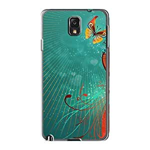 Protective Hard Phone Cover For Samsung Galaxy Note 3 (zsB10297PgJx) Custom Lifelike Butterfly Love Heart Pattern