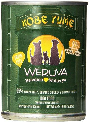 Weruva Dog Food, Kobe Yume with American-Style Wagyu Beef, Organic Chicken & Organic Turkey, 12.8oz Can (Pack of 12)