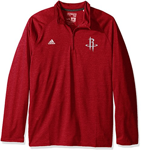 adidas NBA Portland Trail Blazers Men's Climalite Ultimate Long Sleeve 1/4 Zip Left Chest Logo Jacket, Red, Medium