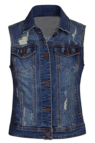 FASHION BOOMY Women's Classic Button Up Cropped Denim Jean Vest - Sleeveless Jacket - Regular and Plus Sizes (Small, Dark_c)