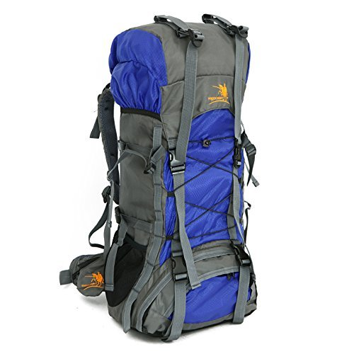 60L Internal Frame Outdoor Camping Travel Rucksack Mountaineering Backpack Climbing Hiking Bag Packs Large Capacity (Blue)