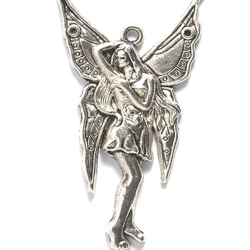 Shipwreck Beads Zinc Alloy Fairy with Dress and Butterfly Wings Charm, 27 by 48mm, Silver, 10-Pack - Fairy Bead