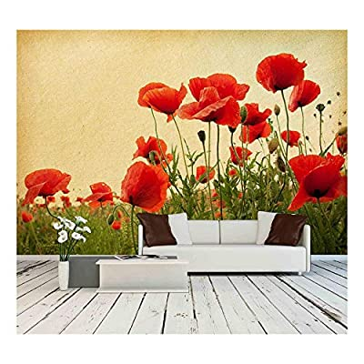 Vintage Paper Textures Field of Poppies - Wall Murals