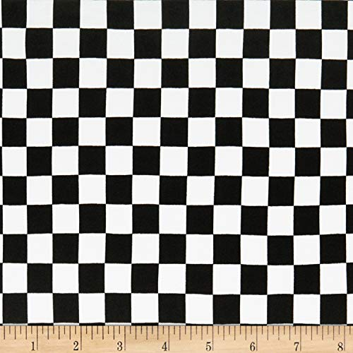 Fabric Double Brushed Poly Jersey Knit Plaid Checker Fabric, Black, Fabric By The - Checker Fabric