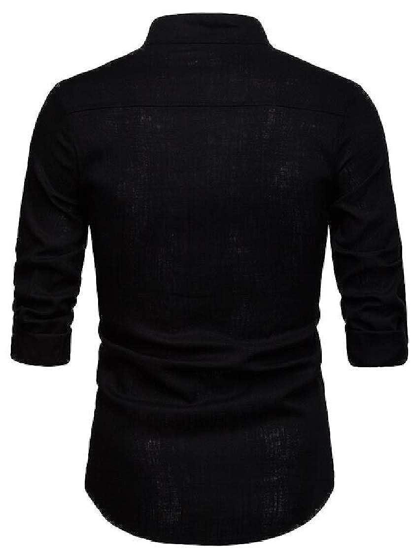 Pandapang Mens Pure Color Casual Long-Sleeve Slim Fit Dress Shirt