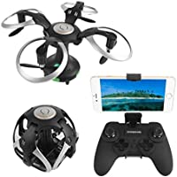 LeaningTech SW-21 2.4G WIFI Control 0.3MP Camera FPV RC Ball Shaped Quadcopter, MINI Pocket Foldable Drone, 6-Axis 4 Channel, 3D Flip, G-Sensor Height Hold, One Key Return, Headless with Light, Black