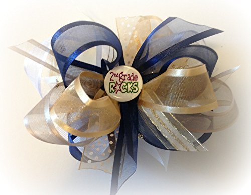 NAVY BLUE WHITE TAN BEIGE SECOND GRADE ROCKS HAIR BOW LITTLE GIRLS BACK TO SCHOOL HAIRBOWS UNIFORMS ORGANZA RIBBONS COMES IN KINDERGARTEN FIRST GRADE ALSO by Hand Picked Hair Bows 4U