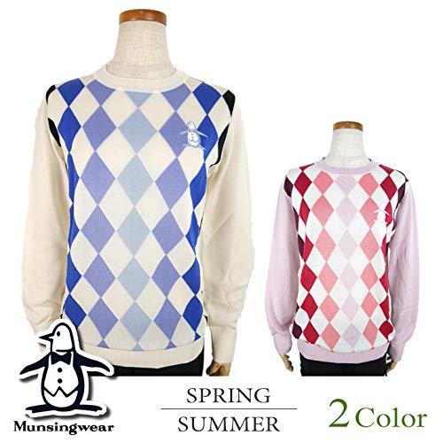[マンシングウェア] 丸首セーター (コットンアーガイル) レディース ゴルフウェア セーター M寸 ホワイト(N921) B07QW631CF