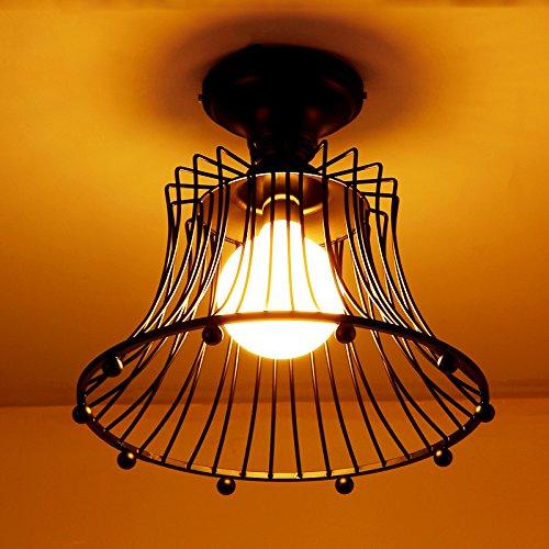 JiaYouJia White Wire Basket Shade 1-Light Metal Semi Flush Mount Ceiling Light