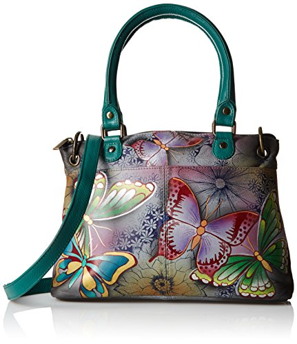 (Anna by Anuschka Women's Genuine Leather Small Satchel | Hand Painted Original Artwork | Dual Handle Zip-Top Organizer | Butterfly Paradise)