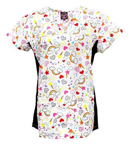 Divine Scrubs Women's Medical Nursing Stretch Top Patterned Multi Pocket Uniform Shirt (Rainbow Star Heart, Medium)