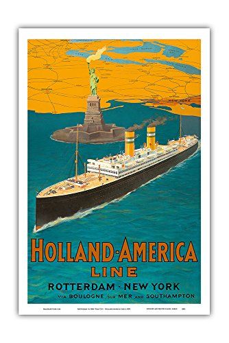 - Rotterdam to New York City - Holland-America Line - Statue of Liberty - Vintage Ocean Liner Travel Poster c.1950 - Master Art Print - 12in x 18in