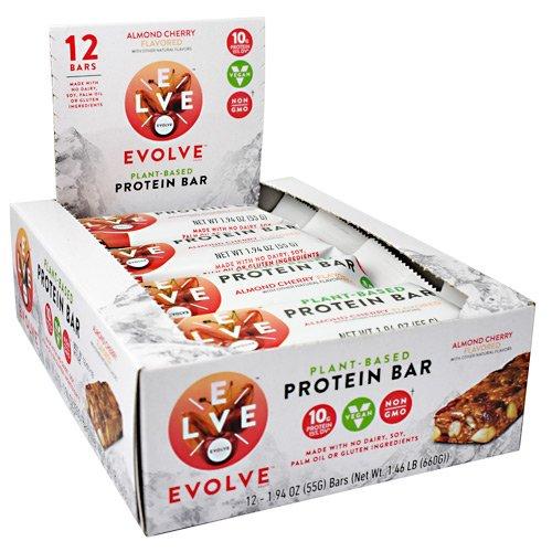 Basic Cherry Almond - CytoSport Evolve Bar Gluten-Free, No-GMO, Vegan Almond Cherry 12 (1.94oz) Bars