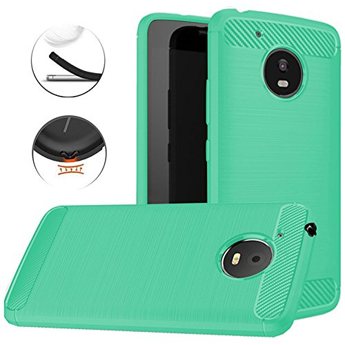 Moto E4 Plus Case (USA Version), Dretal Carbon Fiber Shock Resistant Brushed Texture Soft TPU Phone case Anti-fingerprint Flexible Full-body Protective Cover For Motorola Moto E4 Plus (Mint)