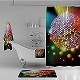 iPrint Bathroom 4 Piece Set Shower Curtain Floor mat Bath Towel 3D Print,Disco Ball Nightclub Celebration Party Dance,Fashion Personality Customization adds Color to Your Bathroom.