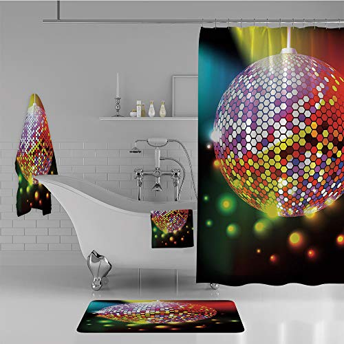 iPrint Bathroom 4 Piece Set Shower Curtain Floor mat Bath Towel 3D Print,Disco Ball Nightclub Celebration Party Dance,Fashion Personality Customization adds Color to Your Bathroom. by iPrint