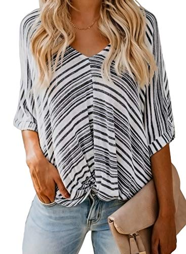Dokotoo Womens Summer Fashion V-Neck Twist Ruched Knot Front Short Sleeve Casual Stripes Tops Blouses Tunics Loose T Shirts Small Black