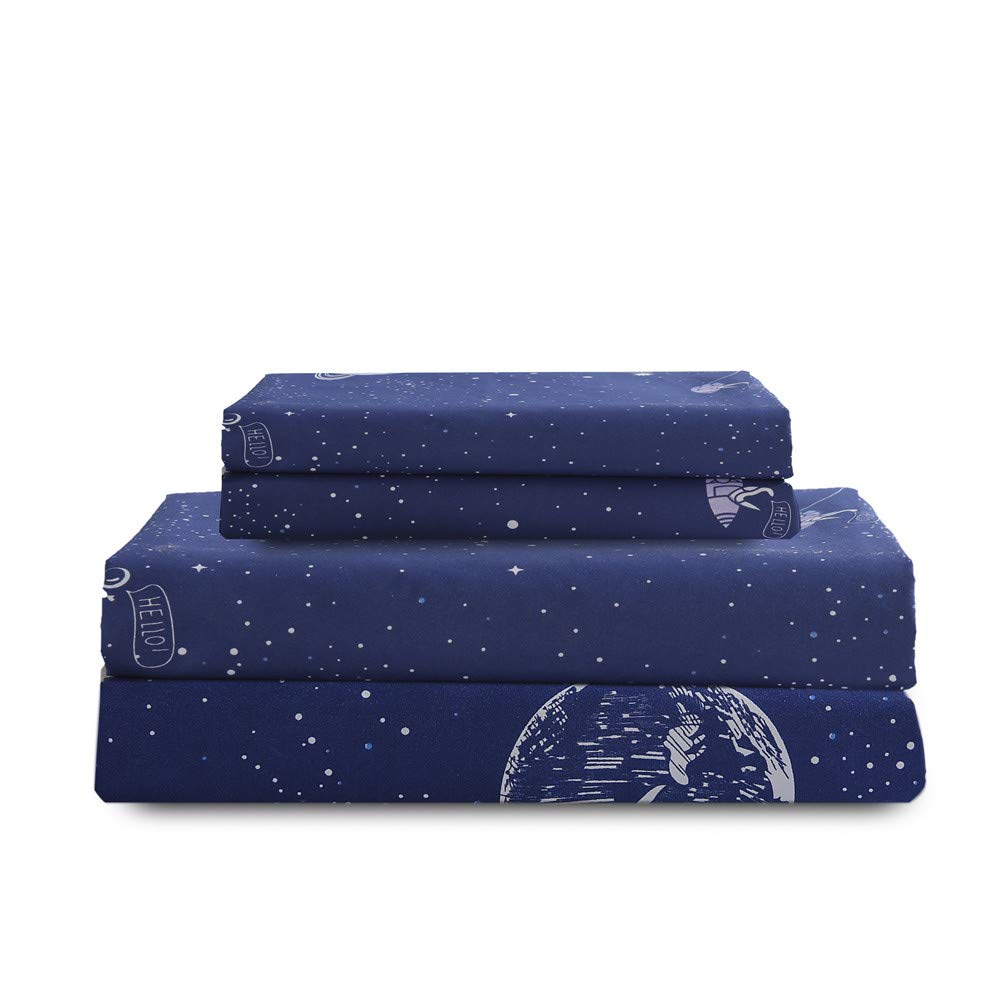 Bedlifes Space Sheets Queen Sheet Set Kids Bedding Set Outer Space Deep Pocket Bed Sheets Flat Sheet& Fitted Sheet with 2×Pillowcases 4PCS Navy Queen by Bedlifes