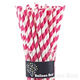 Biodegradable Paper Drinking Straws (Premium Quality), Pack of 50, Striped - Hot Pink