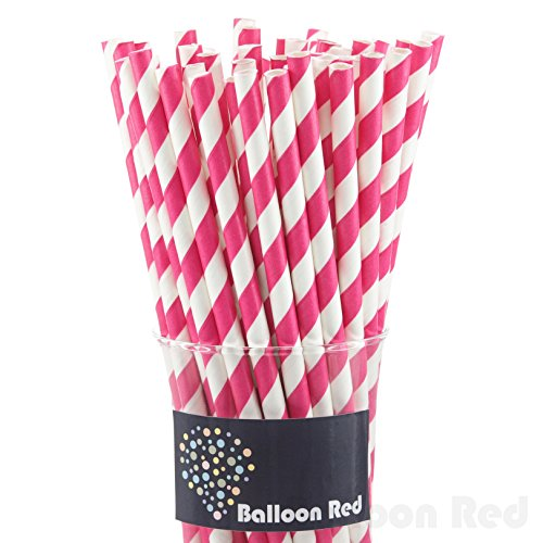 [Biodegradable Paper Drinking Straws (Premium Quality), Pack of 50, Striped - Hot Pink] (Drinking Hats With Straws)