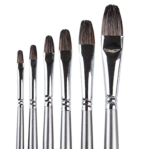 Pure Bristle Artist Brush (6 Piece Professional Brushes Made of Badger Hair,Long Handle.Equally Useful for Oil, Acrylic & Watercolor Fine Art Set.Adapt for Advanced & Beginner Artists, Students, and Professionals)