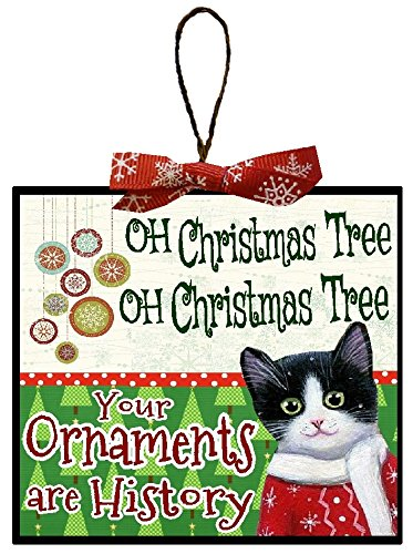 Christmas Decoration Cat Gifts Oh Christmas Tree Your Ornaments Are History Funny Christmas Tree Ornament ith Red Snowflake Bow