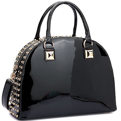 - Dasein Patent Rhinestone Handbags for Women Studded Dome Zip Around Shoulder Bags Designer Purses Black