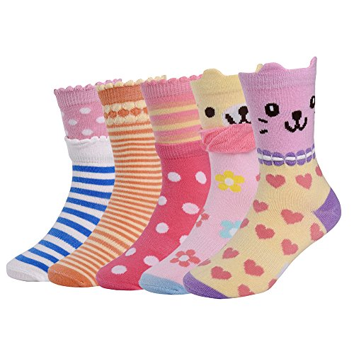Vbiger Toddler Girl Stretch Cotton Socks No-slip Little Girls Socks Kids Socks 5 Pairs (color 2)