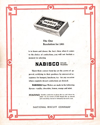- 1905 Nabisco Sugar Wafers National Biscuit Comp-Original 13.5 * 10.5 Magazine Ad