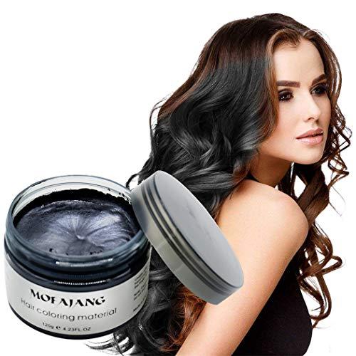 MOFAJANG Natural Hair Wax Color Styling Cream Mud, Natural Hairstyle Dye Pomade, Temporary Hairstyle Cream 4.23 oz, Hairstyle Wax for Men and Women (Black)