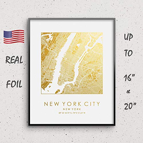 New York City Map Print Gold & Silver Foil Print NYC Square City Map Wall Art Poster from 5