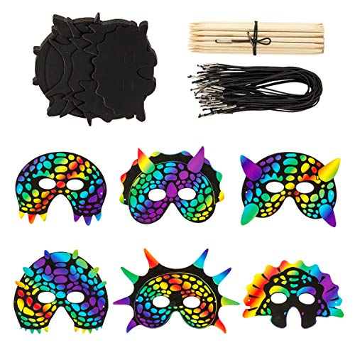 (30 Sets Scratch Paper Dinosaur Masks Scratch Masks Magic Rainbow Animal Masks Kids Masquerade Face Mask for Dinosaur Birthday Party)
