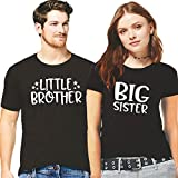 Hangout Hub Men's and Women's Little Brother Big Sister (Black;Men XL; Women XL) Printed T-Shirt Sibling Cotton Rakshabandhan Special Twinning Tees for Brother/Sister/Bhai/Behen/Family-Set of 2
