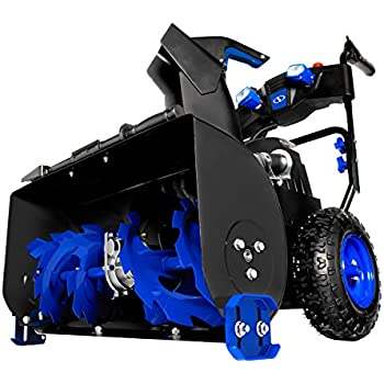 Snow Joe ION8024-XR 24-Inch 80 Volt 2x5 Ah Batteries Cordless Two Stage Snow Blower 4-Speed + Headlights