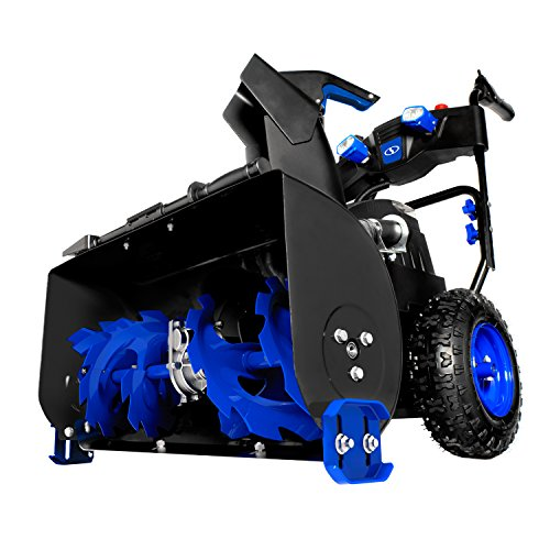 Snow Joe ION8024-XR 24-Inch 80 Volt 2×5 Ah Batteries Cordless Two Stage Snow Blower 4-Speed + Headlights