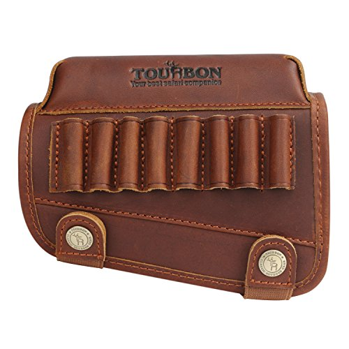 TOURBON Genuine Leather Buttstock Cheek Rest with Rifle Shell Holder - Left Handed