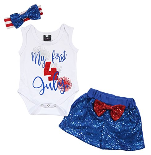 UNIQUEONE 3Pcs Baby Girls Merica Flag Stars Print Romper Bodysuit+Sequins Shorts+Headbands Sets Size 3-6 Months/Tag70 (Baby Blue Sequins)