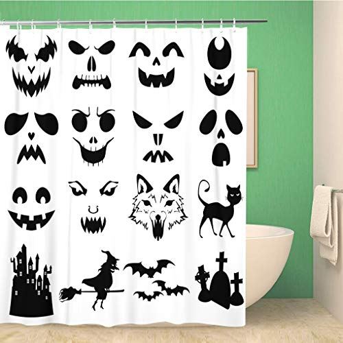 Awowee Bathroom Shower Curtain Face of Halloween Pumpkins