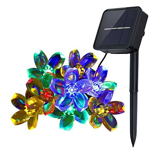 Innoo Tech Solar String Lights Outdoor Flower Garden Light 21ft 50 LED Multi Color Blossom Lighting for Christmas, Garden Indoor Wedding Party Decoration Patio Light RBG Fairy (Mission Two Light Island)