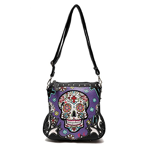 Sugar Skull Messenger Sling Bag Day of the Dead Purse with Concealed Carry Pocket, Purple