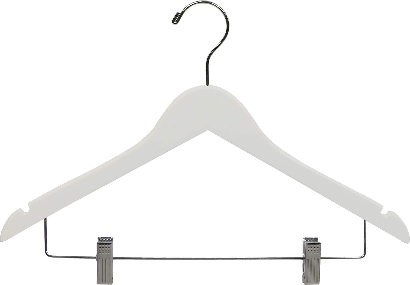 White Wood Combo Hanger w/ Adjustable Cushion Clips, Box of 25 Space Saving 17 Inch Flat Wooden Hangers w/ Chrome Swivel Hook & Notches for Shirt Jacket or Dress by The Great American Hanger Company by The Great American Hanger Company