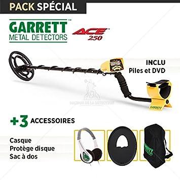 Detector de metales Garrett ACE 250: casco + Protège Disco + Mochila: Amazon.es: Jardín
