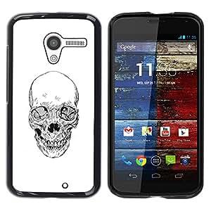 Motorola Moto X 1 1st GEN I , JackGot - Impreso colorido protector duro espalda Funda piel de Shell (Cráneo de la muerte del motorista de la cuadrilla blanca Lápiz)