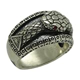 Masonic All Seeing Eye Pyramid Vintage Illuminati Ouroboros Biker Band Sterling Silver 925 Mens Ring , Ruby color stones