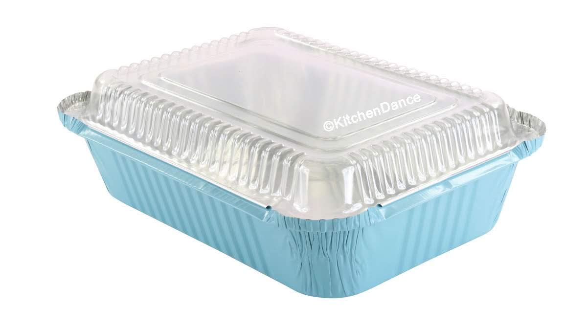KitchenDance Disposable Colored Aluminum 3.75 Pound Take Out Pans. Color and Lid Options (with Plastic Lids, Blue, 25)