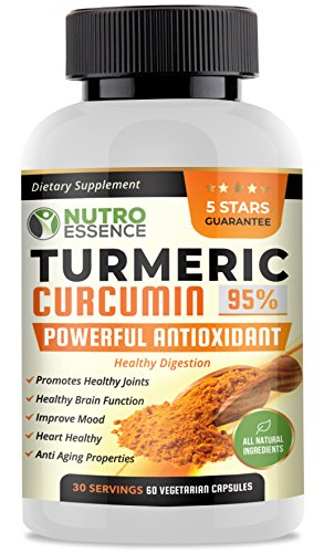 Nutro Essence Turmeric Curcumin 95% Curcuminoids with Bioperine 60 Capsules | All Natural & Powerful Antioxidant Dietary Supplement | Joint Support, Enhance Mood & Promote Wellness Review
