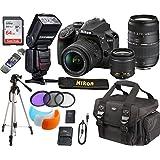 Nikon D3400 24.2 MP DSLR Camera + AF-P DX 18-55mm VR NIKKOR Lens + Tamron 70-300mm Zoom Lens + Accessory Bundle 64GB Memory + SLR Photo Bag + TTL SpeedLite Flash w/LCD Display+ Tripod+Filters (Black)