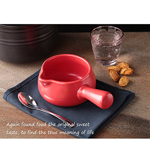 Ceramic Kitchen Milk Butter Mini Saucepan Warmer Cookware with Handle (Red)