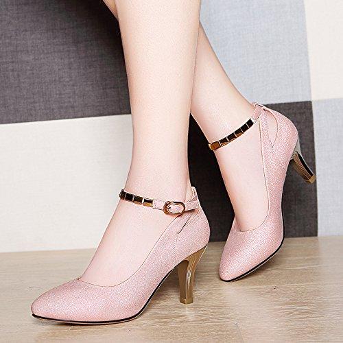 VIVIOO Sandalias De Mujer De Sandalias De Tacón Alto Sandalias De Tacón Alto De Tacón Fino Con Tacones De Aguja Acentuados Señoras De Verano Palabra Salvajes Hebilla De Zapatos De Mujer The pink A