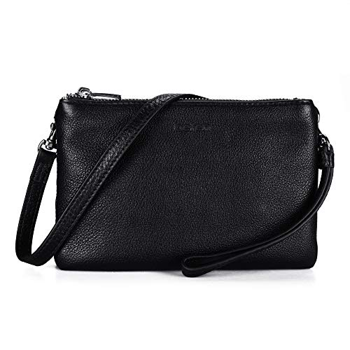 Befen Women Leather Lifestyle Double Pocket Wristlet Crossbody Bag Clutch Purses with Card Slots - Black
